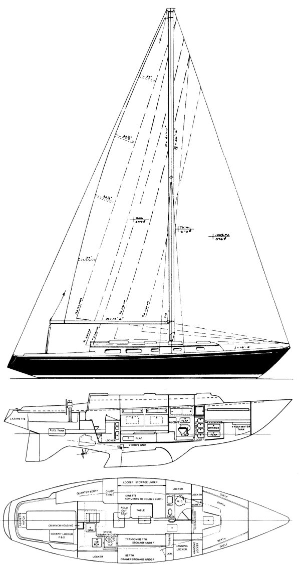 Pearson 39-1 drawing on sailboatdata.com