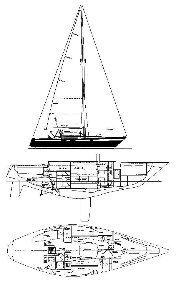 Pearson 40 drawing on sailboatdata.com