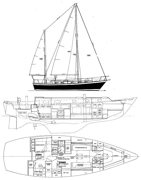Pearson 424 ketch drawing on sailboatdata.com