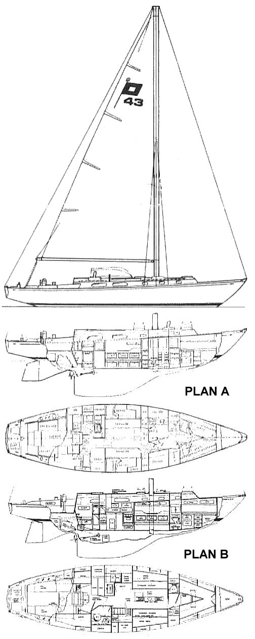 Pearson 43 drawing on sailboatdata.com