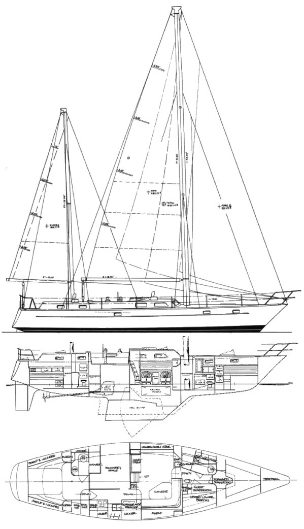 Pearson 530 drawing on sailboatdata.com