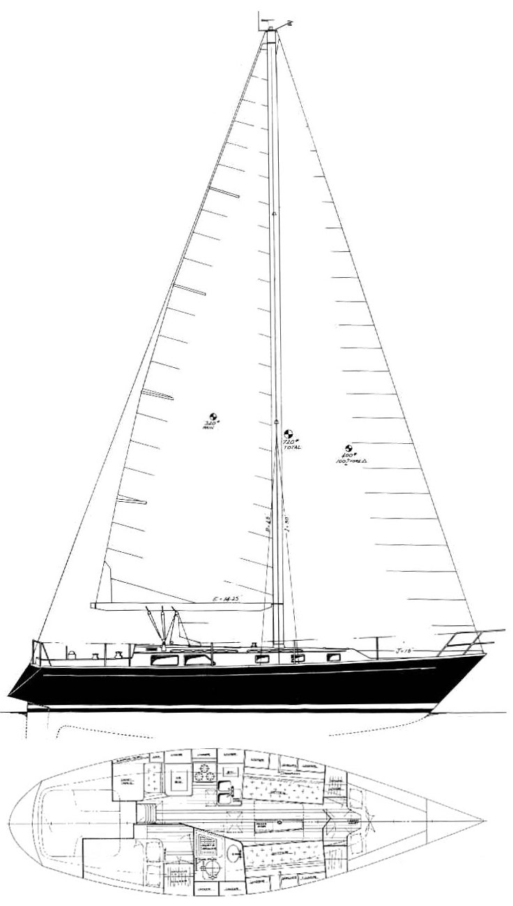 Pedrick 38 (Cheoy Lee) drawing on sailboatdata.com