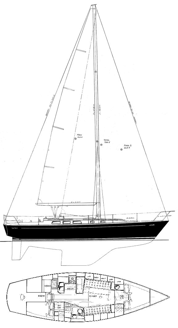 Pedrick 41 drawing on sailboatdata.com