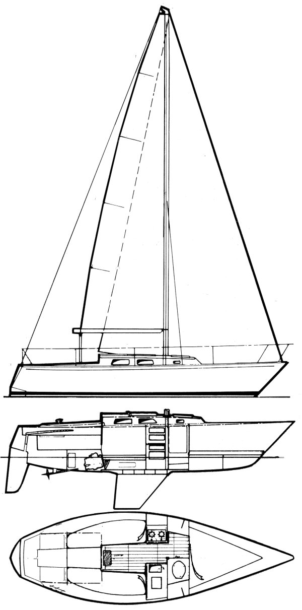 Peterson 25-1 drawing on sailboatdata.com