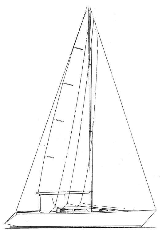 Peterson 37 drawing on sailboatdata.com