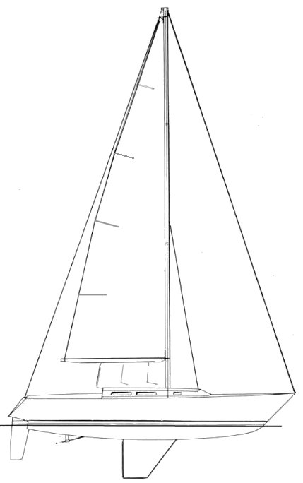 Peterson 38 drawing on sailboatdata.com