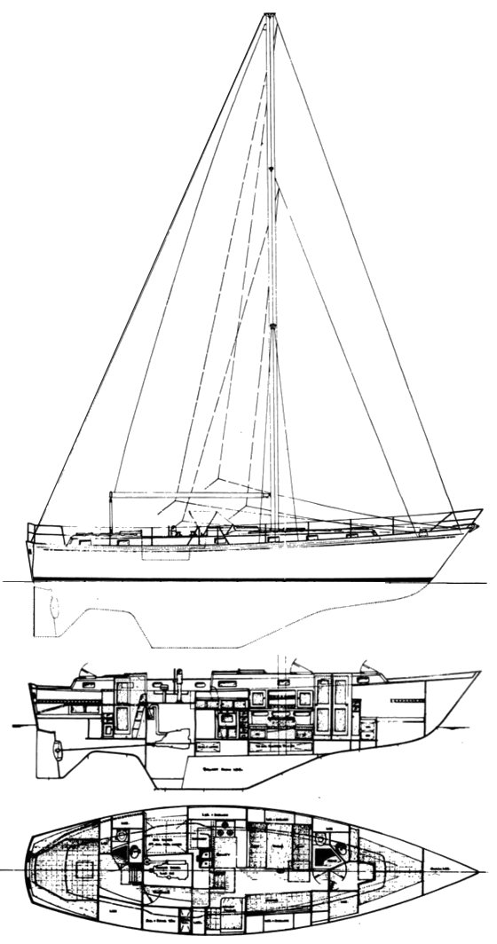 Peterson 44 drawing on sailboatdata.com
