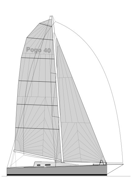 Pogo 40 drawing on sailboatdata.com