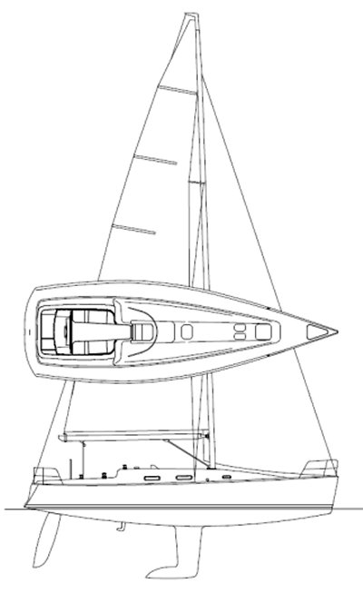 Prima 38 drawing on sailboatdata.com