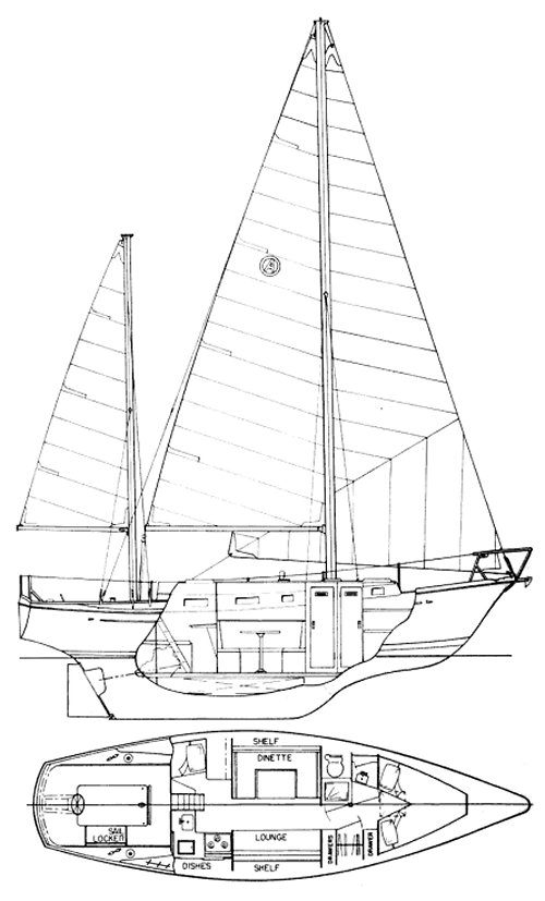 Allied Princess 36 drawing on sailboatdata.com