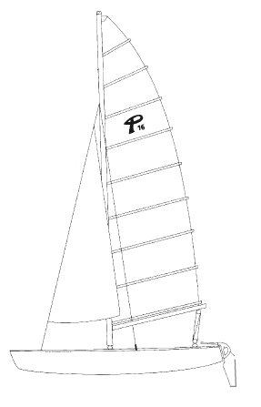 Prindle 16 drawing on sailboatdata.com