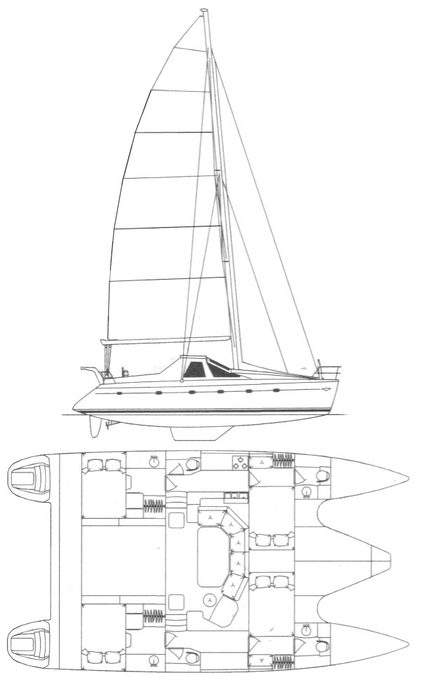 Privelege 42 drawing on sailboatdata.com