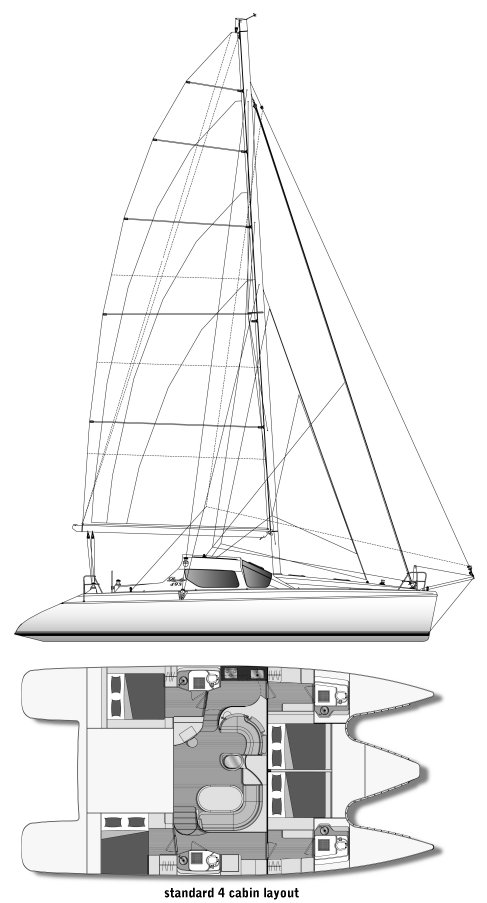 Privelege 495 drawing on sailboatdata.com
