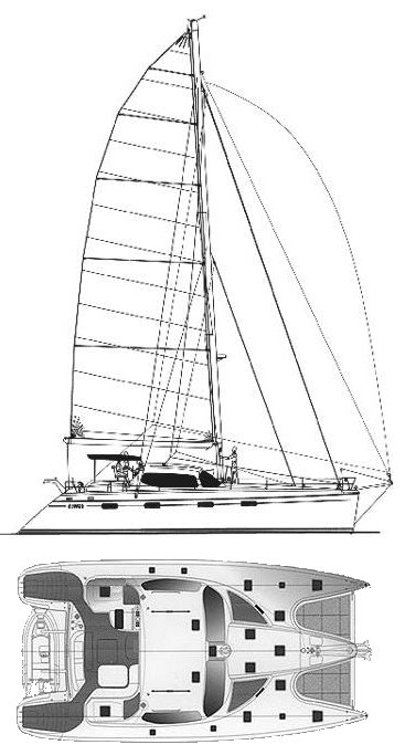 Privilege 585 drawing on sailboatdata.com