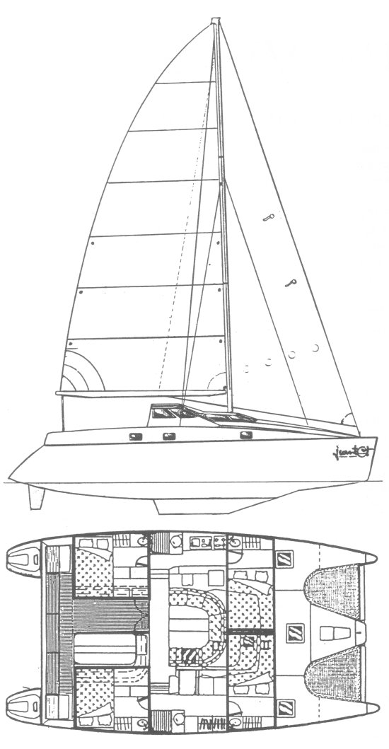 Privilege 39 drawing on sailboatdata.com