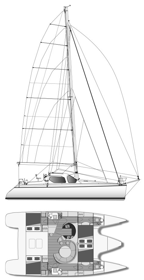 Privilege 445 drawing on sailboatdata.com