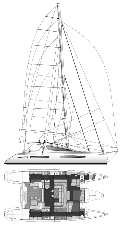 Privilege 615 drawing on sailboatdata.com
