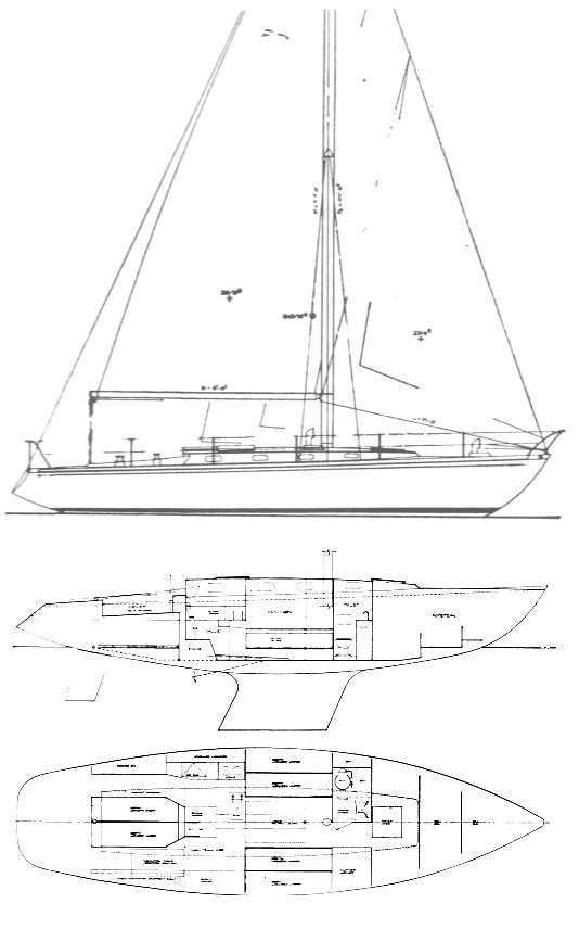 PT 40 drawing on sailboatdata.com