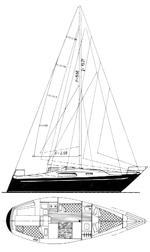 Puma 26 drawing on sailboatdata.com