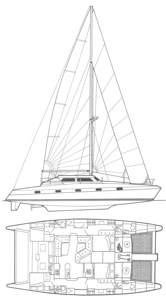 Quasar 50 (Prout) drawing on sailboatdata.com