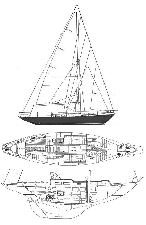 Queen 38 drawing on sailboatdata.com