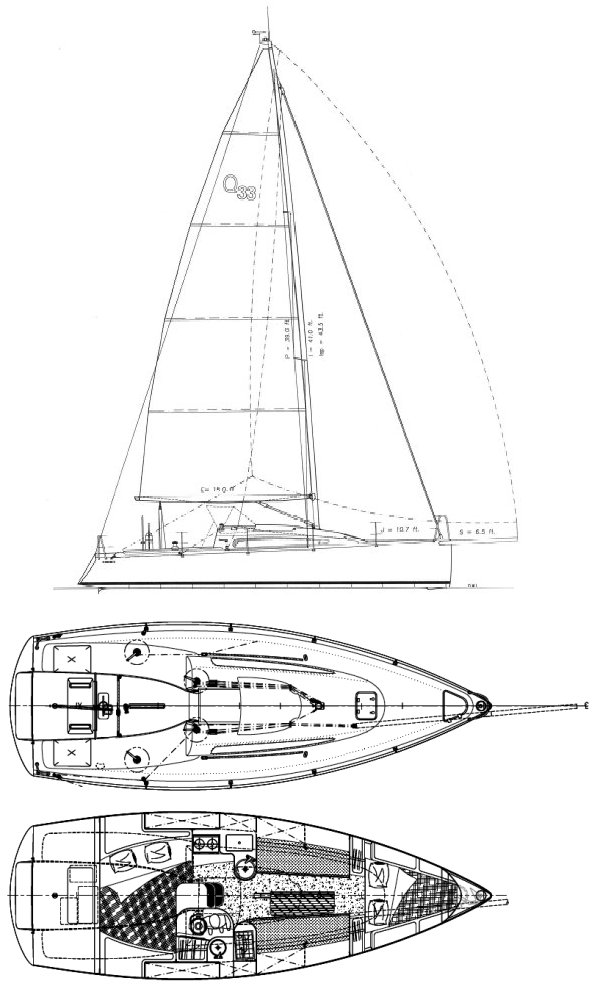 Quest 33 drawing on sailboatdata.com