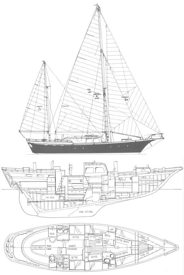 Radiant 48 (Robb) drawing on sailboatdata.com