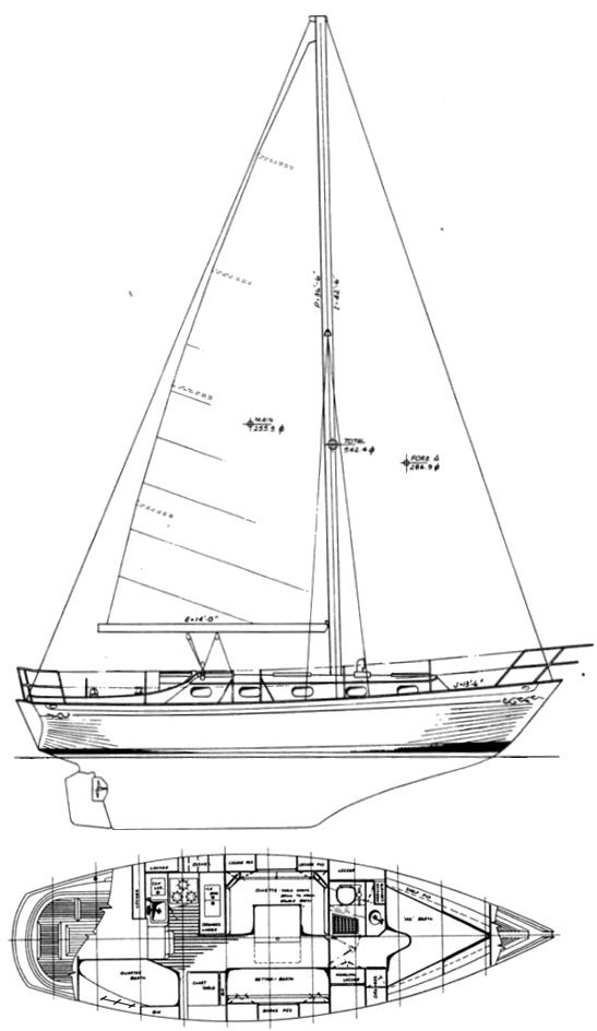 Rafiki 35 drawing on sailboatdata.com