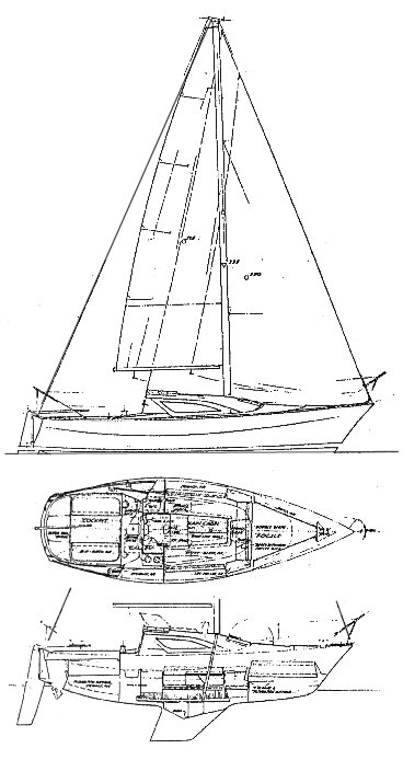 Ranger 24 drawing on sailboatdata.com