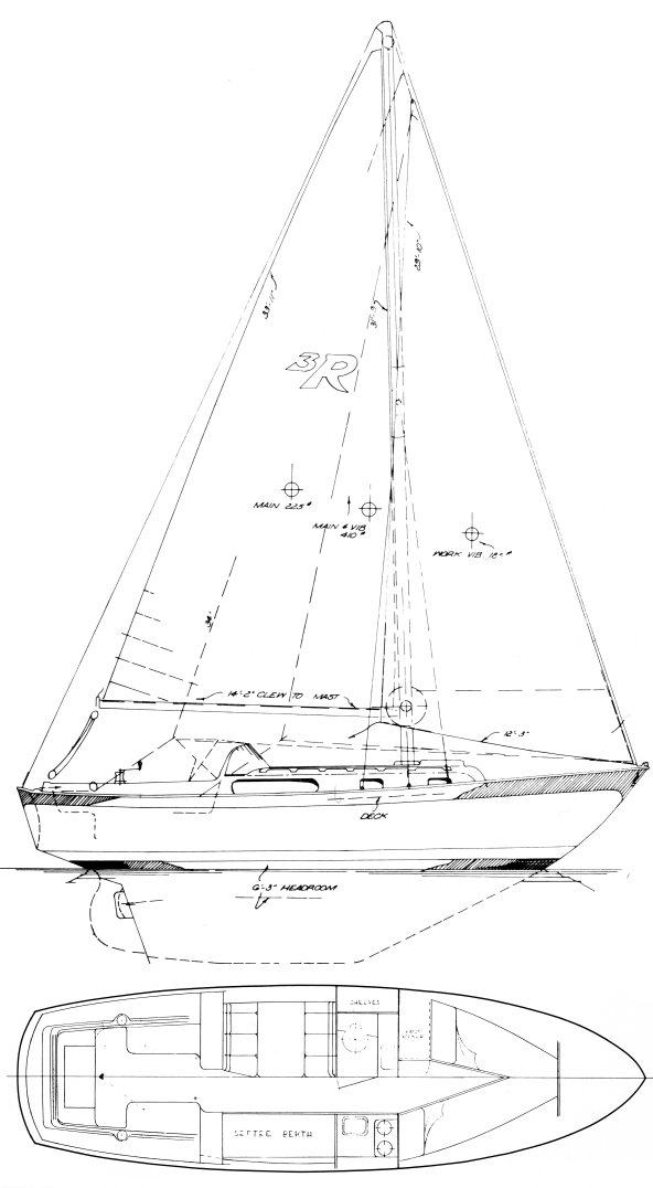 Rawson 30 drawing on sailboatdata.com
