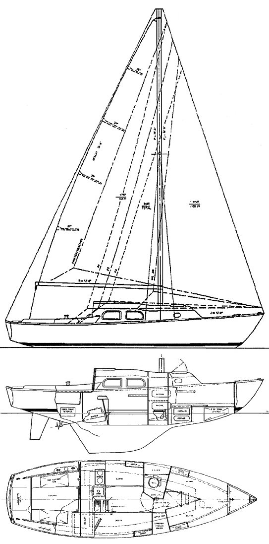 Renegade 27 (Pearson) drawing on sailboatdata.com