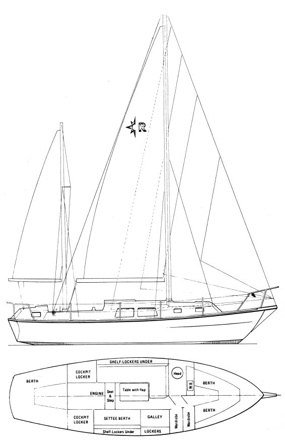 Renown 32 (Westerly) drawing on sailboatdata.com