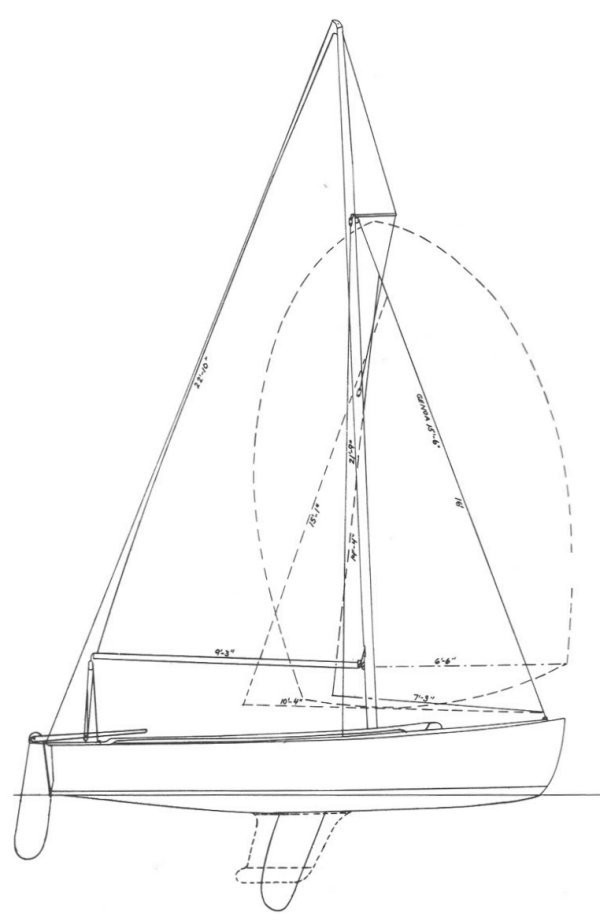 Rhodes 18 drawing on sailboatdata.com