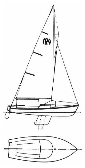 Rhodes 19 drawing on sailboatdata.com