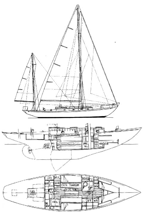 Rhodes 29 drawing on sailboatdata.com