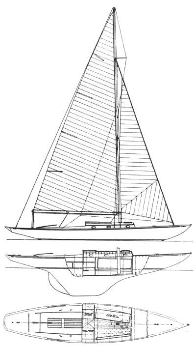 Rhodes 33 drawing on sailboatdata.com