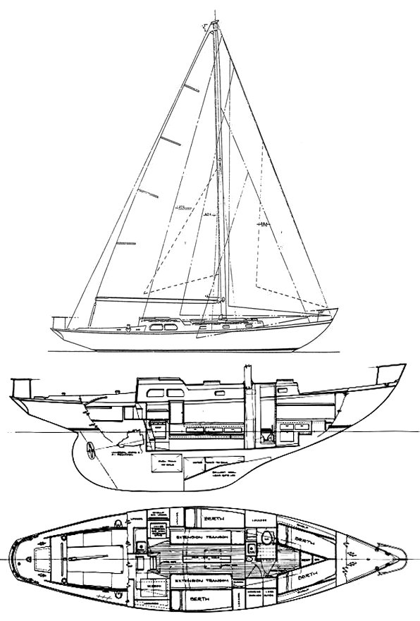 Rhodes 41 drawing on sailboatdata.com