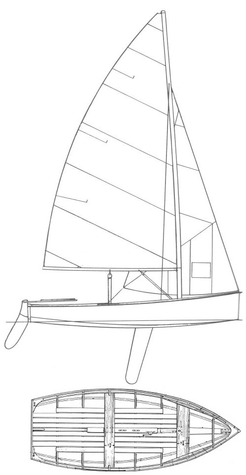 Rhodes Bantam drawing on sailboatdata.com