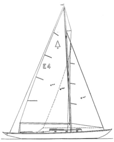 Rhodes Evergreen drawing on sailboatdata.com