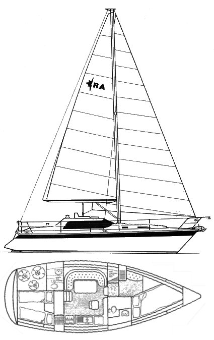 Riviera 35 (Westerly) drawing on sailboatdata.com