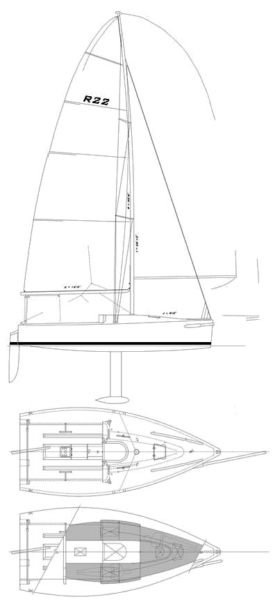 Rocket 22 drawing on sailboatdata.com