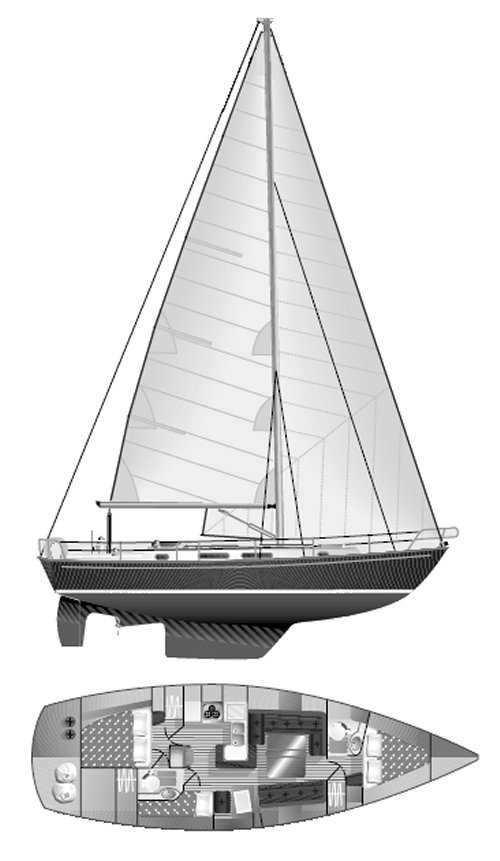 Rustler 42 drawing on sailboatdata.com
