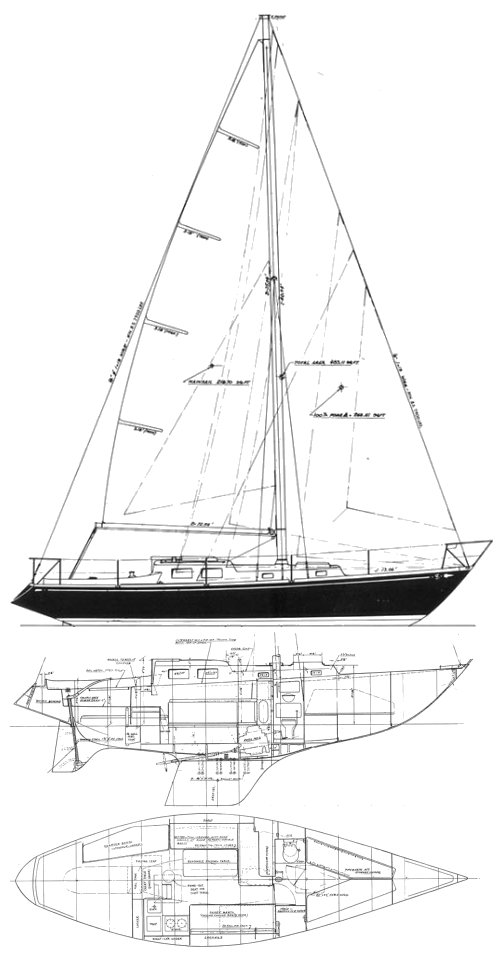 S&S 34 drawing on sailboatdata.com