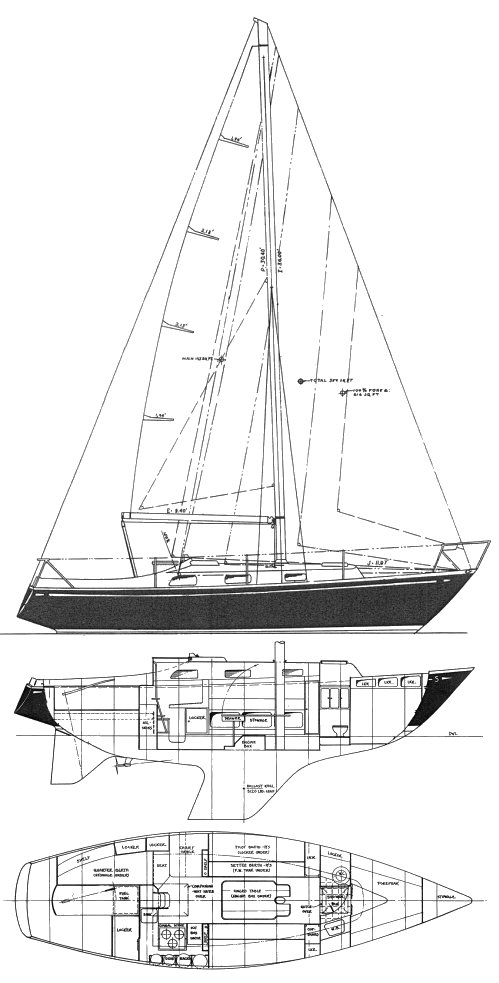 S&S 30 (Aguafibre) drawing on sailboatdata.com