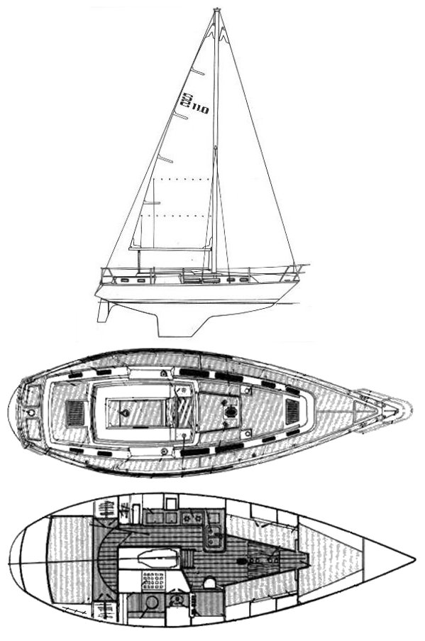 S-2 11.0 C drawing on sailboatdata.com
