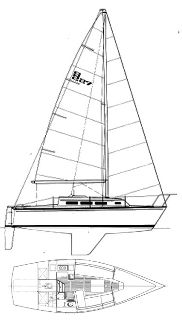 S2 27 drawing on sailboatdata.com