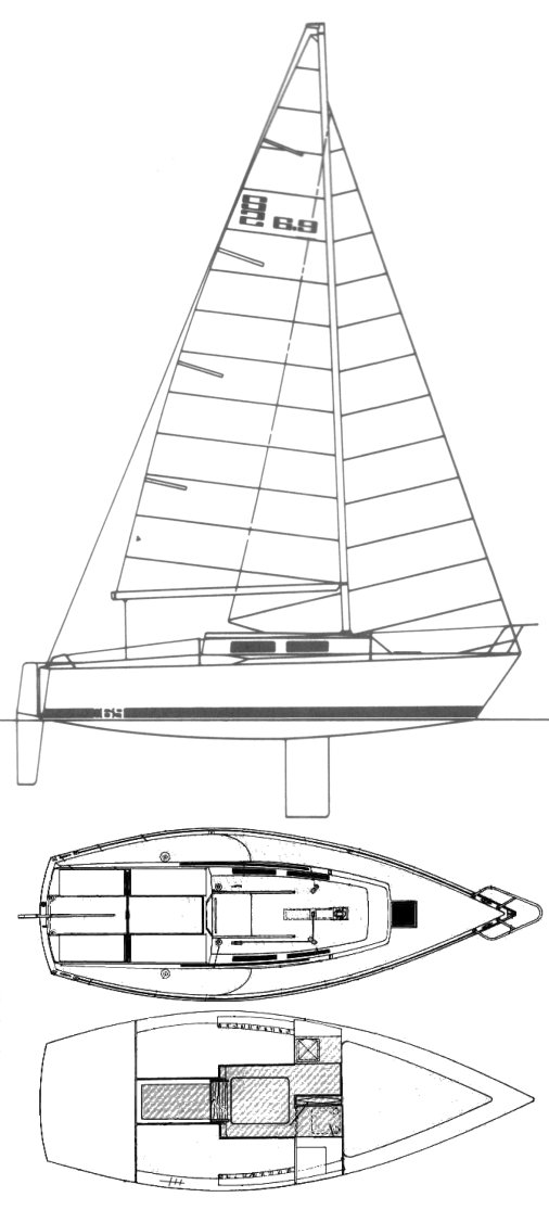 S2 6.9 drawing on sailboatdata.com