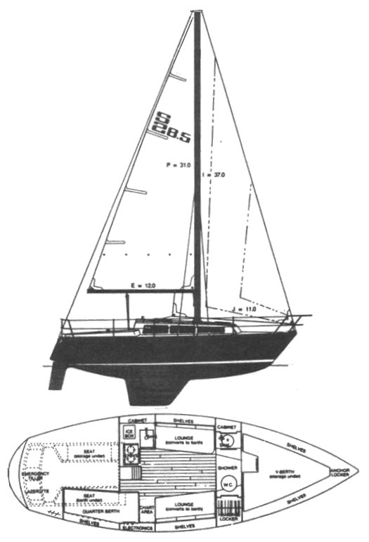 S2 8.5 drawing on sailboatdata.com