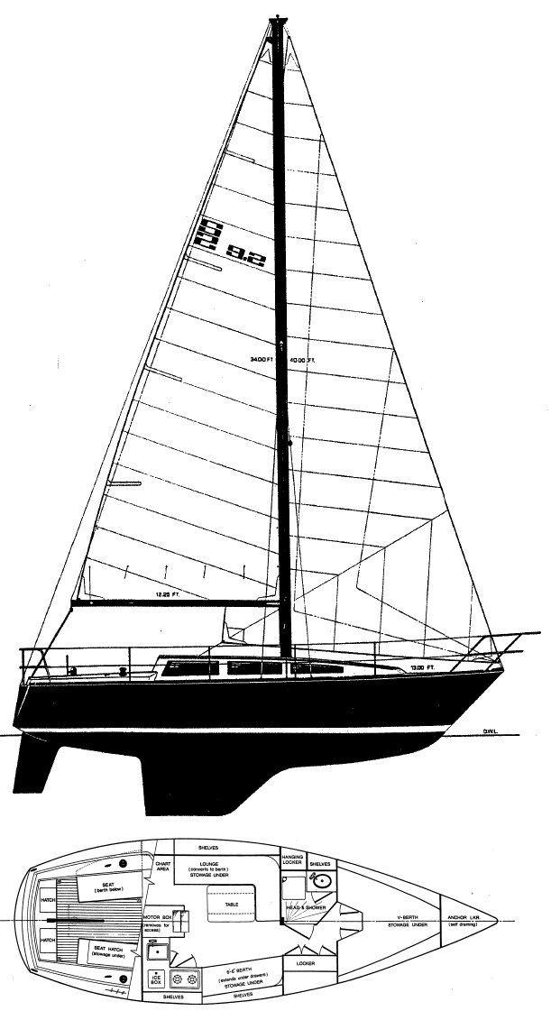 S2 9.2A drawing on sailboatdata.com