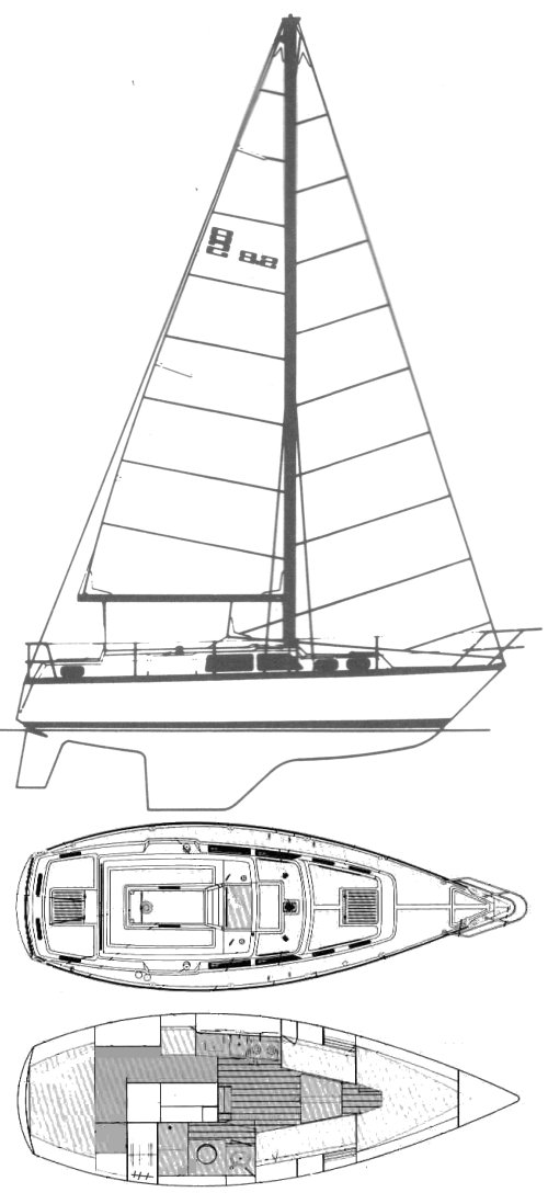 S2 9.2C drawing on sailboatdata.com